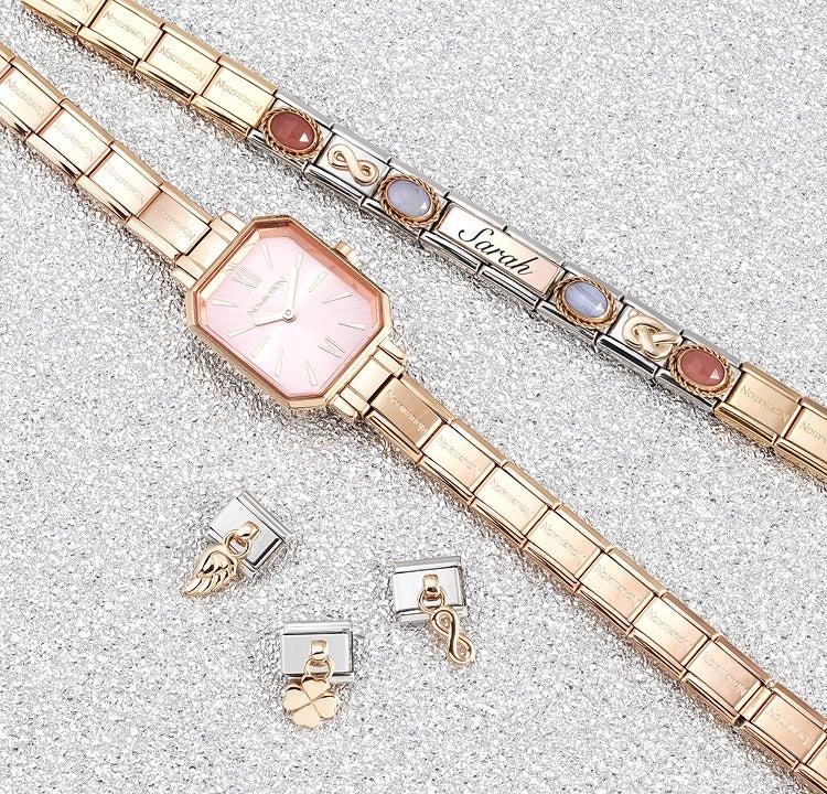 Ein Armband mit einem Satz, der von Leben, Liebe und Freundschaft handelt