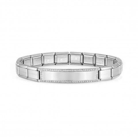 Trendsetter_bracelet,_plate_with_stones_Steel_bracelet_with_Engraving_plate