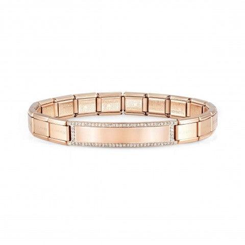 Trendsetter_bracelet,_Rose_with_plate_Coloured_steel_bracelet,_Engraving_plate_and_CZ