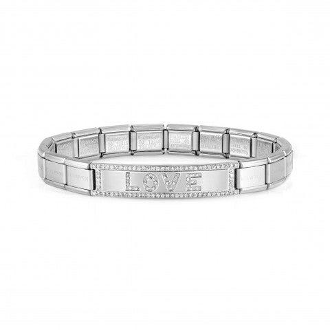 Trendsetter_bracelet,_LOVE_Stainless_steel_bracelet_with_text_in_CZ