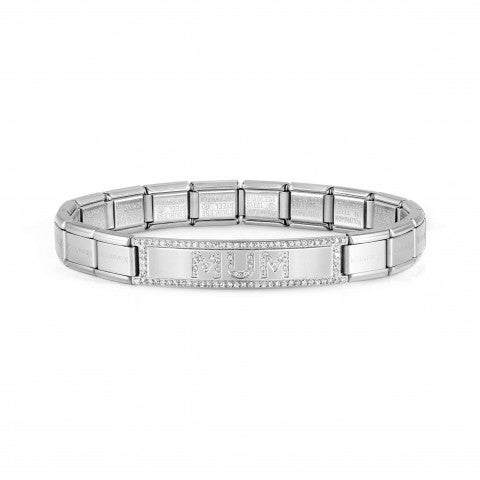 Trendsetter_bracelet,_MUM_with_CZ_Stainless_steel_bracelet_with_MUM_text_on_plate