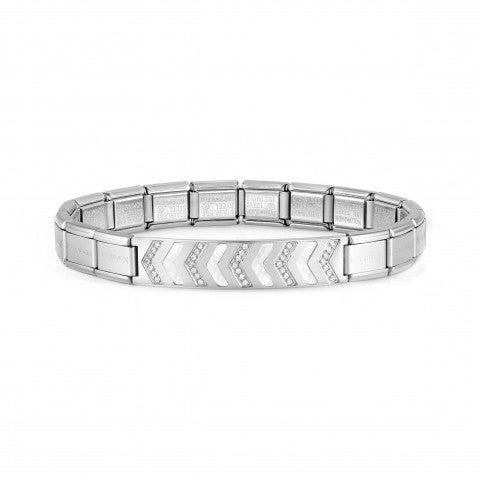 Trendsetter_bracelet, stainless_steel_with_stones_Bracelet_stainless_steel,_CZ_and_Mother_of_Pearl