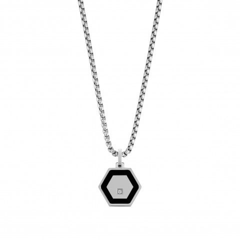Class_Necklace_in_Stainless_Steel_with_Hexagon_Men's_stainless_steel_necklace_with_Cubic_Zirconia