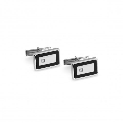 Class_Cufflinks_in_Stainless_Steel_and_Cubic_Zirconia_Shirt_accessories_in_stainless_steel_with_symbol