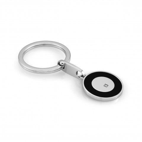 Porte-clés_Class_avec_cercle_et_Swarovski_Accessoire_en_acier_avec_détails_en_acier_noir