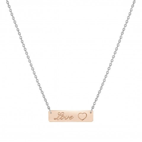 BELLA_LA_VITA_Special_Edition_necklace_LOVE_plaque_Stainless_steel_and_9K_Rosegold_necklace_LOVE