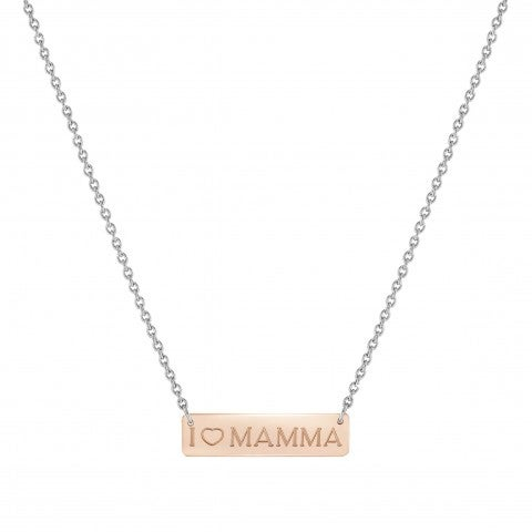 BELLA_LA_VITA_necklace_I_LOVE_MAMMA_plaque_Stainless_steel_and_9K_Rosegold_necklace_I_LOVE_MAMMA