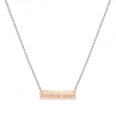 BELLA_LA_VITA_necklace_AMICHE_PER_SEMPRE_plaque_Stainless_steel,_9K_Rosegold_necklace:_AMICHE_PER_SEMPRE