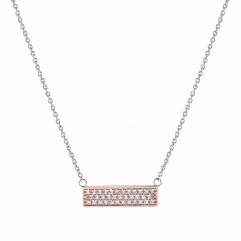 BELLA_LA_VITA_necklace_with_Cubic_Zirconia_plaque_Stainless_steel_and_9K_Rosegold_necklace,_White_Cubic_Zirconia