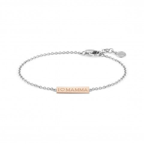 BELLA_LA_VITA_bracelet_I_LOVE_MAMMA_plaque_Stainless_steel_and_9K_Rosegold_bracelet,_I_LOVE_MAMMA