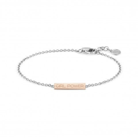 Bracelet_BELLA_LA_VITA_plaque_Girl_Power_Bracelet_en_Acier_et_or_Rose_375_avec_plaque_gravée_Girl_Power