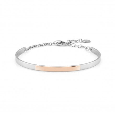 BELLA_LA_VITA_rigid_bracelet_Engraving_plaque_Steel,_9K_Rosegold_rigid_bracelet,_Engraving_plaque
