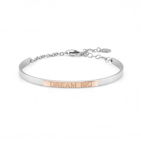 Bracelet_Rigide_BELLA_LA_VITA_plaque_Dream_Big_Bracelet_en_Acier_et_or_Rose_375_avec_plaque_gravée_Dream_Big