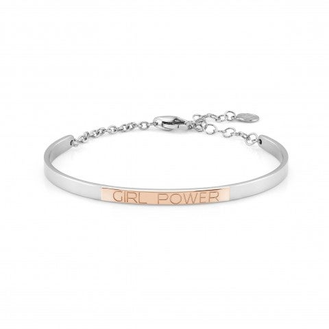 Bracelet_Rigide_BELLA_LA_VITA_plaque_Girl_Power_Bracelet_en_Acier_et_or_Rose_375_avec_plaque_gravée_Girl_Power