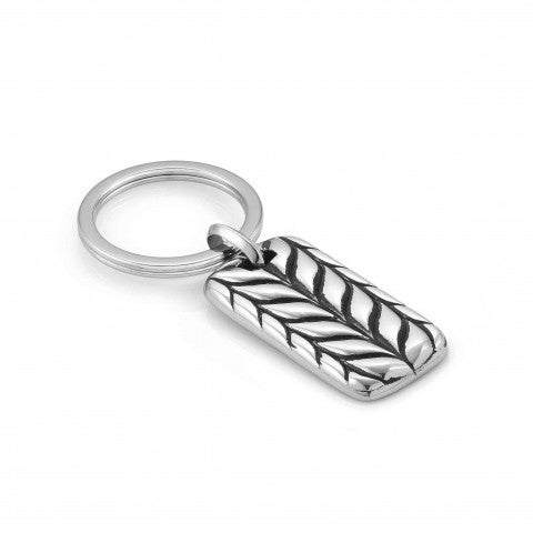 Instinct_Marina_Leather_Key_Ring,_Braid_symbol_Accessory_in_stainless_steel_with_symbols