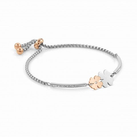 Milleluci_bracelet,_2_Four-Leaf_Clovers_Jewellery_in_stainless_steel_with_lucky_symbol