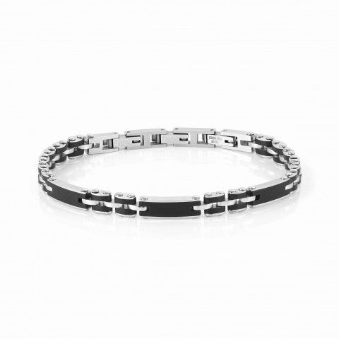 STRONG_Men's_bracelet,_steel_and_black_Stainless_steel_bracelet_with_coloured_finish
