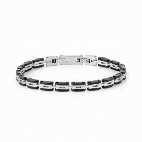 STRONG_Men's_bracelet,_steel_and_black_Stainless_steel_bracelet_with_black_details