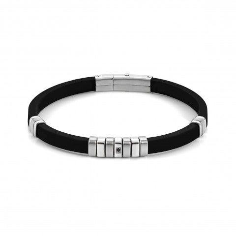 Bracelet_City_en_caoutchouc_et_acier_Bracelet_avec_zircon_cubique_noir