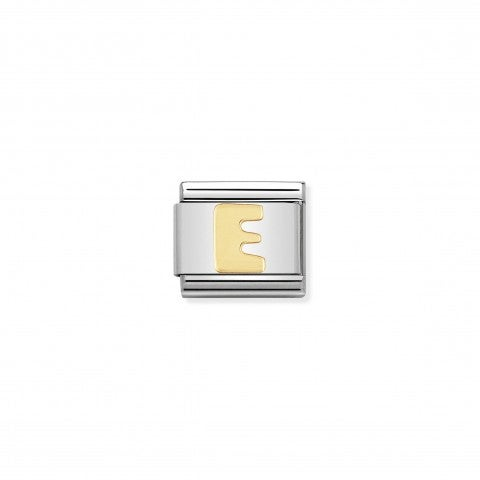 Composable_Classic_Link_Letter_E_in_18K_Gold_Alphabet_Letter_E_in_stainless_steel