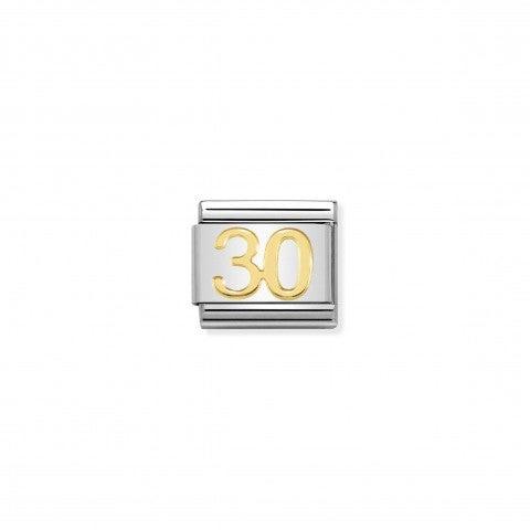 Link_Composable_Classic_numero_30_Link_in_Acciaio_e_simbolo_30_in_oro_750