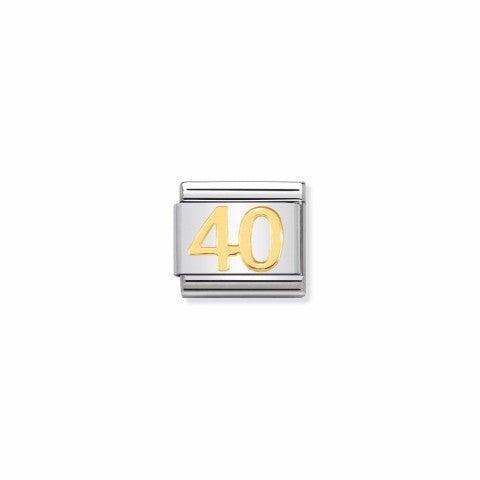 Link_Composable_Classic_numero_40_Link_in_Acciaio_e_simbolo_40_in_oro_750