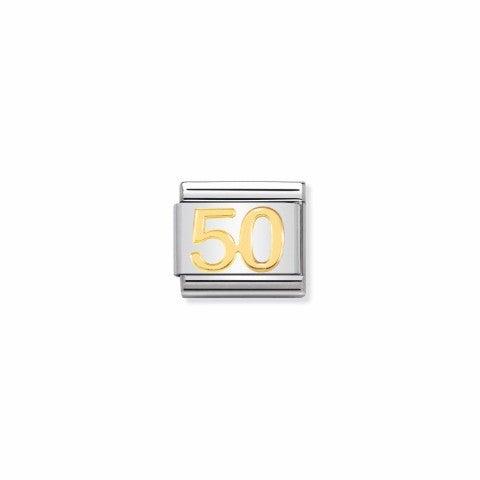 Link_Composable_Classic_numero_50_Link_in_Acciaio_e_simbolo_50_in_oro_750