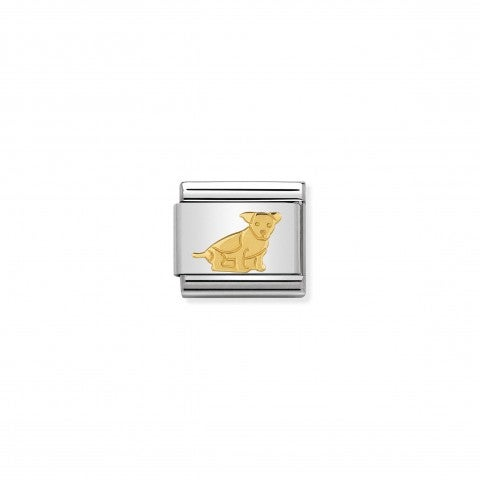Link_Composable_Classic_Cane_Seduto_in_Oro_Link_con_animale_domestico_in_Acciaio