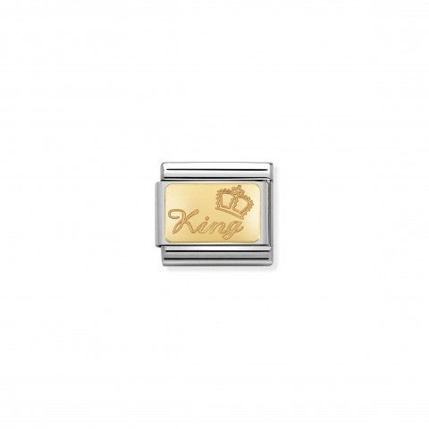 "Composable_Classic_King_Link_Link_with_""King""_in_stainless_steel_and_18K_gold"