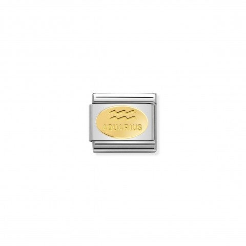 Link_Composable_Classic_con_simbolo_Acquario_Link_con_segno_zodiacale_in_Oro_giallo