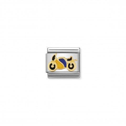 Link_Composable_Classic_Moto_in_Smalto_Link_con_motocicletta_in_Acciaio_e_Oro750