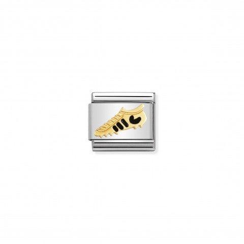 Link_Composable_Classic_Scarpa_nera_Link_con_simbolo_calcistico_in_Acciaio_e_Oro750