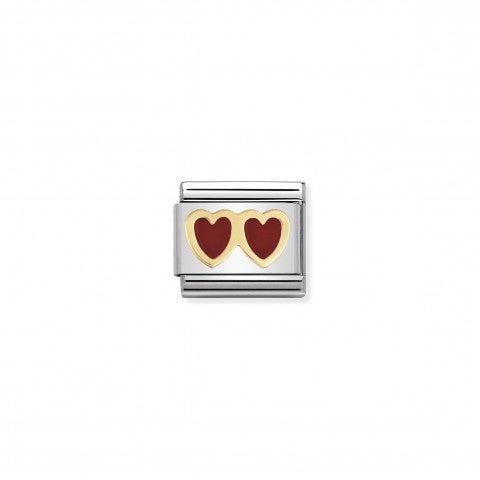 Link_Composable_Classic_Doppio_cuore_Link_con_tema_amore_in_Oro750_e_Smalto_rosso