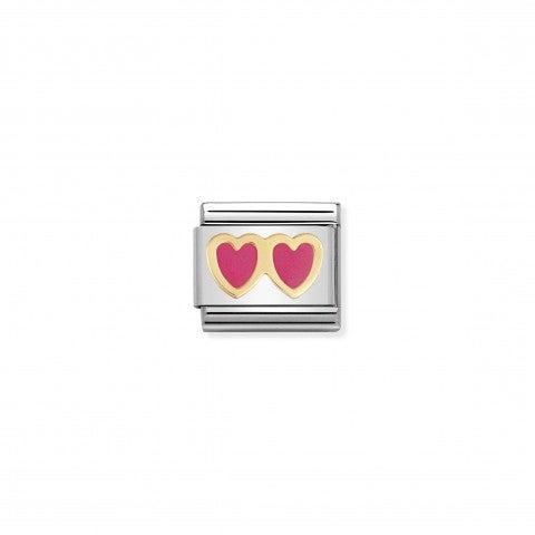 Link_Composable_Classic_Doppio_cuore_rosa_Link_con_doppio_cuore_in_Acciaio_e_Smalto_rosa