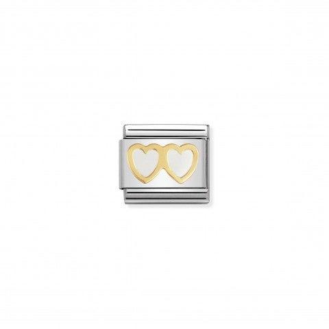 Link_Composable_Classic_Doppio_Cuore_bianco_Link_con_doppio_cuore_in_Oro750_e_Smalto_bianco