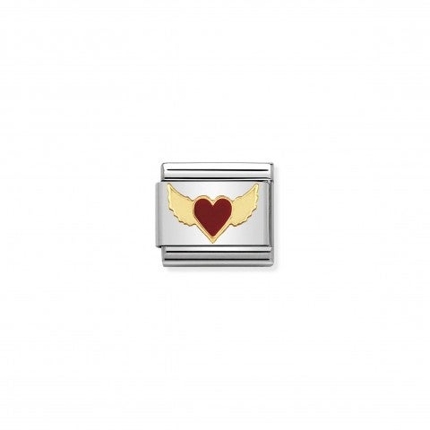 Composable_Classic_Link_red_and_Gold_Flying_Heart_Link_in_gold_and_enamel_with_Hearts_and_Love_symbols