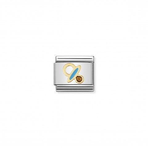 Composable_Classic_Link_Schnuller_Azurblau_Link_in_Edelstahl,_Gold_und_Emaille__Azurblau_Geburt