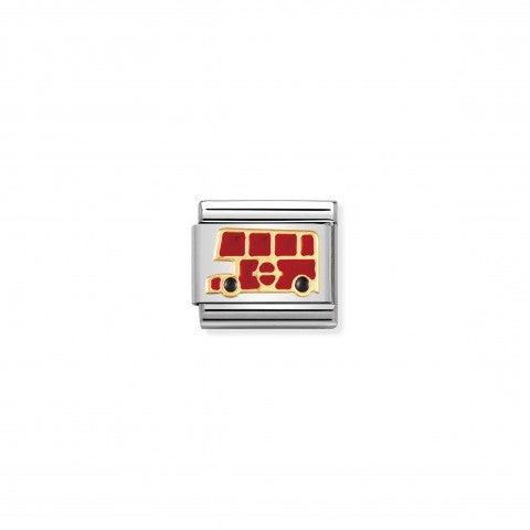 Link_Composable_Classic_in_Smalto_Autobus_inglese_Link_in_Oro_e_Smalto_colorato_Mezzi_di_Trasporto