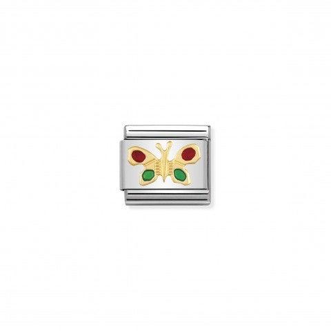 Link_Composable_Classic_Farfalla_verde_e_rossa_Link_in_Oro_e_Smalto_colorato_Animali_dell'aria