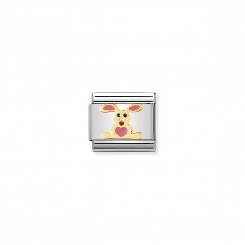 Link_Composable_Classic_Coniglio_rosa_Link_con_animale_in_Smalto_rosa_e_Oro750