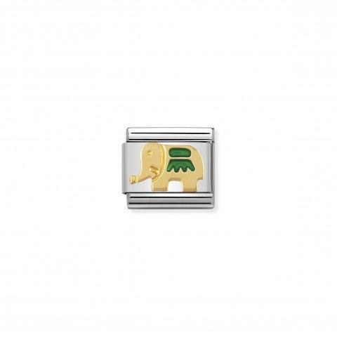 Link_Composable_Classic_Elefante_verde_Link_con_animale_della_Savana_in_Acciaio_e_Smalto_verde
