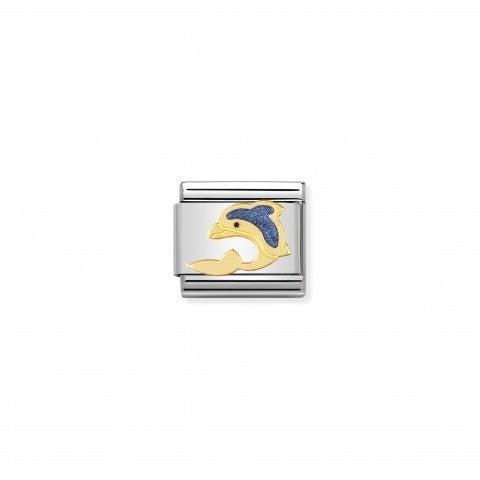 Link_Composable_Classic_Delfino_in_Oroe_Smalto_Link_con_animale_acquatico_in_Acciaio_e_Oro750