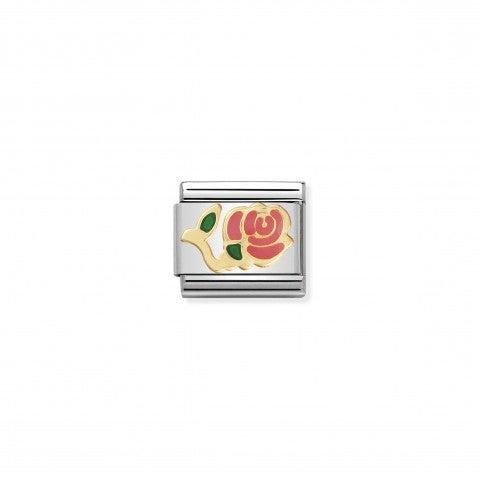 Link_Composable_Classic_Rosa_rosa_Link_con_rosa_colorata_in_Acciaio_e_Smalto