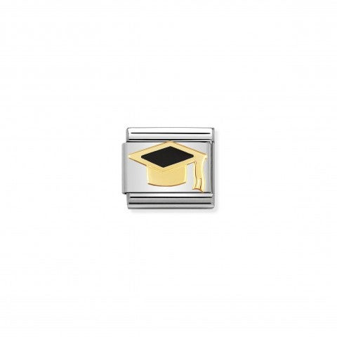 Composable_Classic_Link_black_Graduate_Hat_Graduate_18K_gold_Link_in_stainless_steel