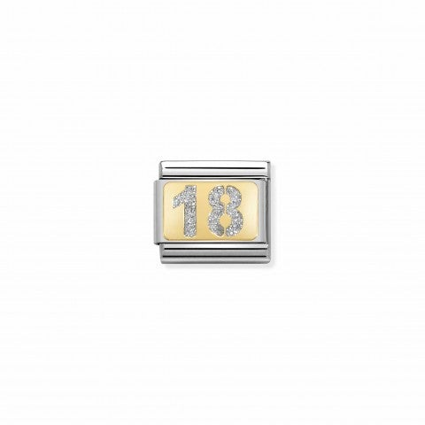 Composable_Classic_Link_Glitter_Number_18_Link_with_number_in_yellow_gold_and_enamel