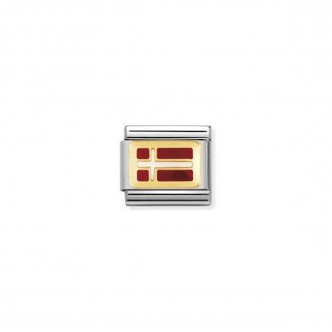 Link_Composable_Classic_Bandiera_Danimarca_Link_bandiera_Europea_con_dettagli_in_Oro750