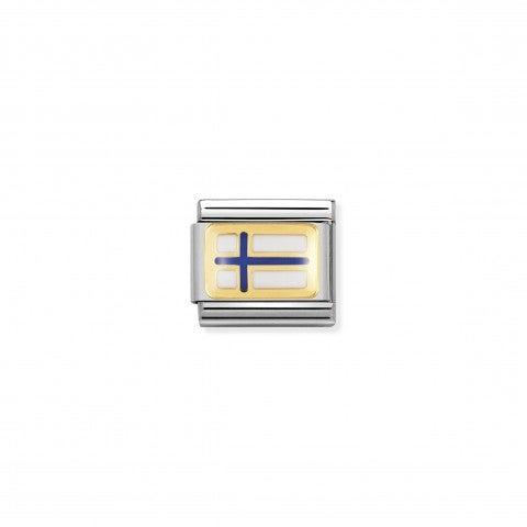 Link_Composable_Classic_Bandiera_Finlandia_Link_in_Acciaio_e_Oro750_con_la_bandiera_Finlandese