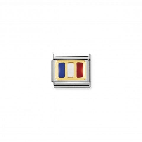 Composable_Classic_Link_France_Flag_Stainless_steel_and_gold_Link_with_French_Flag_symbol