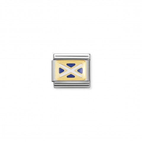 Link_Composable_Classic_Bandiera_Scozia_Link_in_Acciaio_e_Oro750_con_la_bandiera_Scozzese