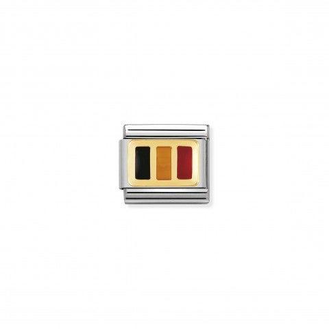 Link_Composable_Classic_Bandiera_Belgio_Link_bandiera_Europea_con_dettagli_in_Smalto_colorato